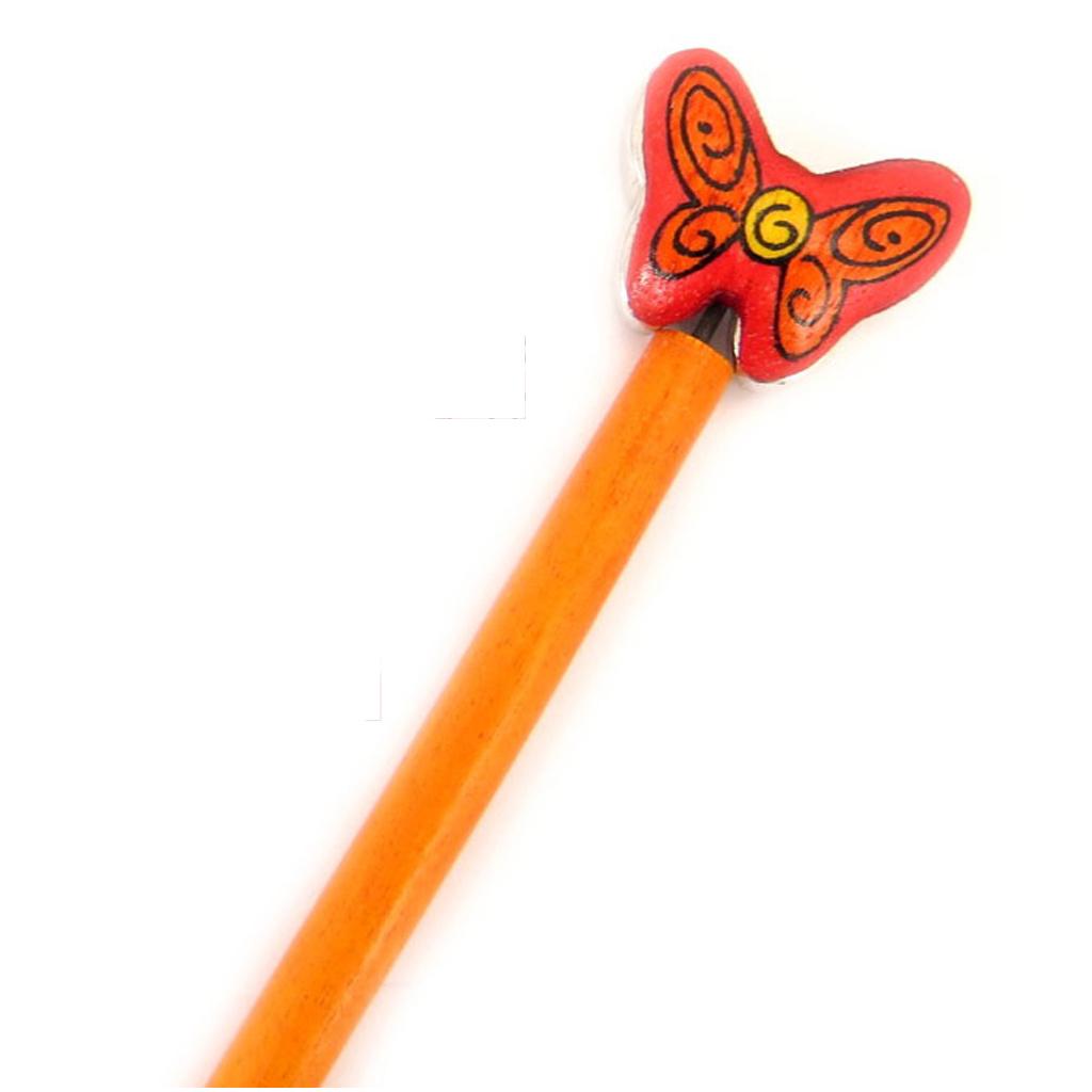 Picot chignon bois \'Papillons\' orange - 21 cm, 30x25 mm - [A1579]
