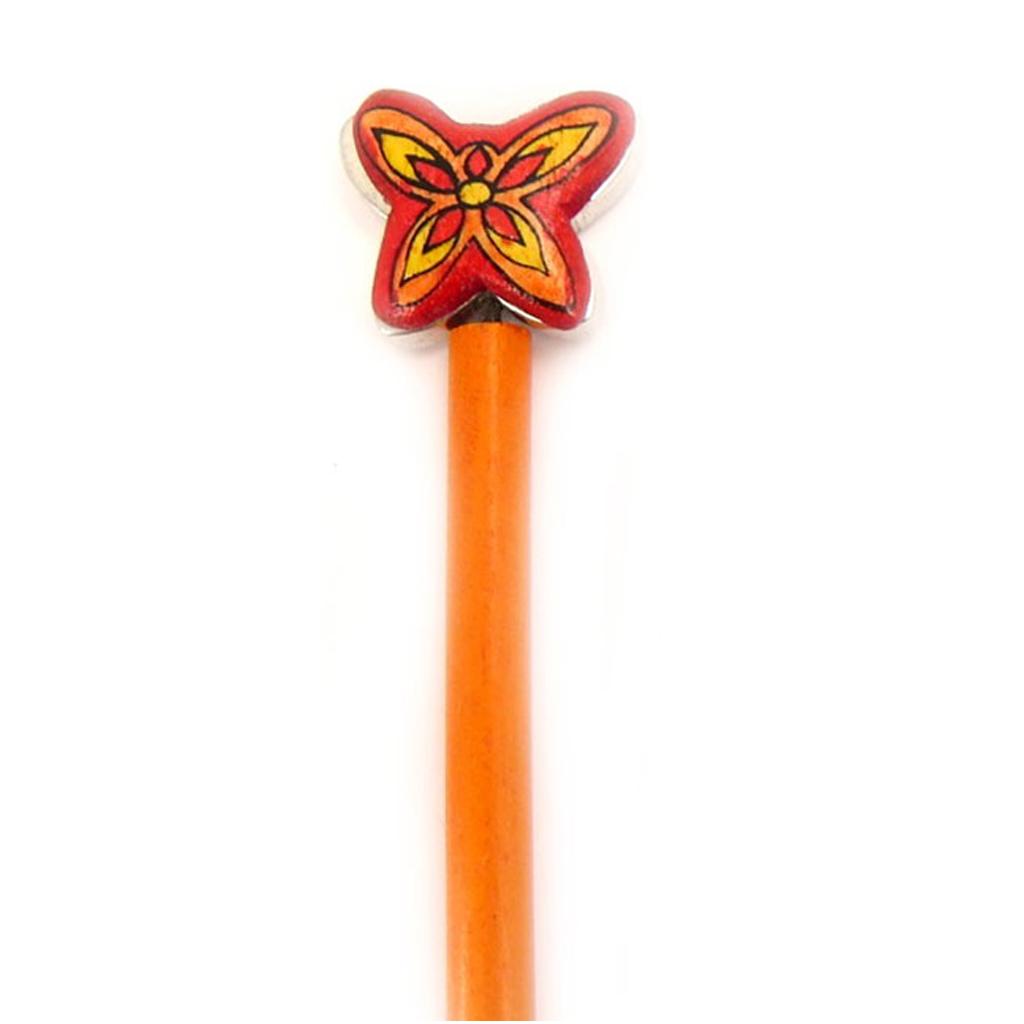Picot chignon bois \'Papillons\' orange - 21 cm, 30x25 mm - [A1580]