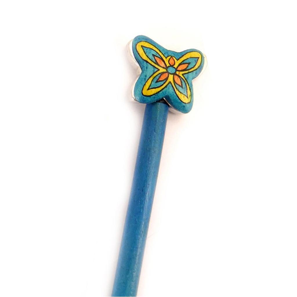 Picot chignon bois \'Papillons\' bleu - 21 cm, 30x25 mm - [A1582]