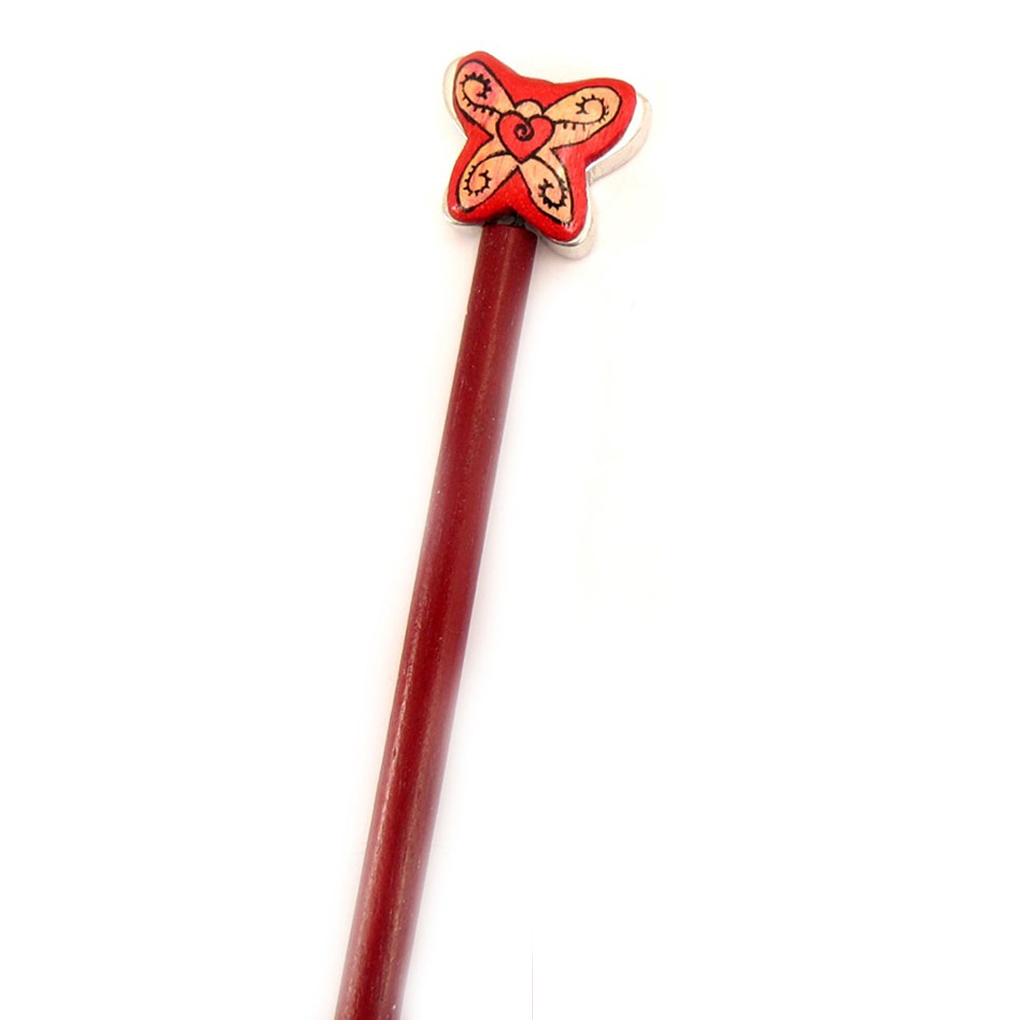 Picot chignon bois \'Papillons\' rouge - 21 cm, 30x25 mm - [A1587]