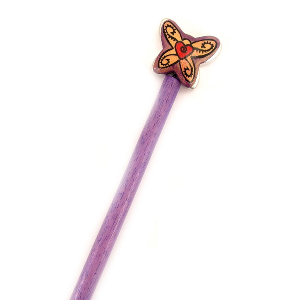 Picot chignon bois \'Papillons\' violet - 21 cm, 30x25 mm - [A1588]