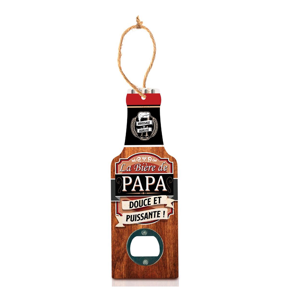 Décapsuleur humoristique bois \'Bouteille\' (La bière de Papa, douce et puissante !) - 20x7 cm - [A1597]