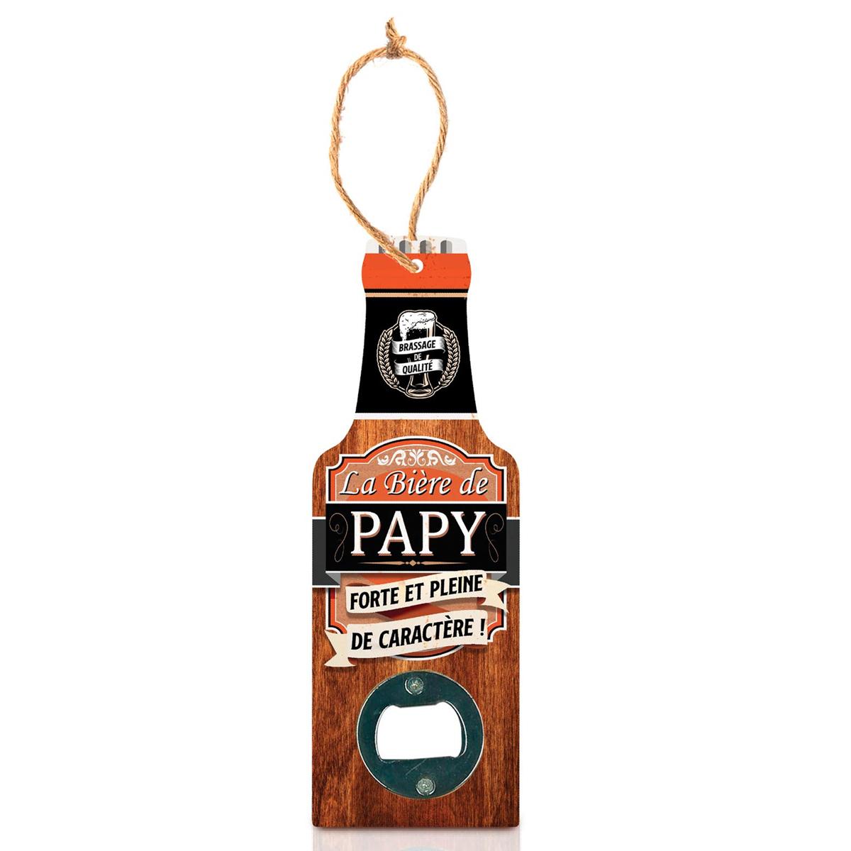 Décapsuleur humoristique bois \'Bouteille\' (La bière de Papy, forte et pleine de caractère !) - 20x7 cm - [A1598]