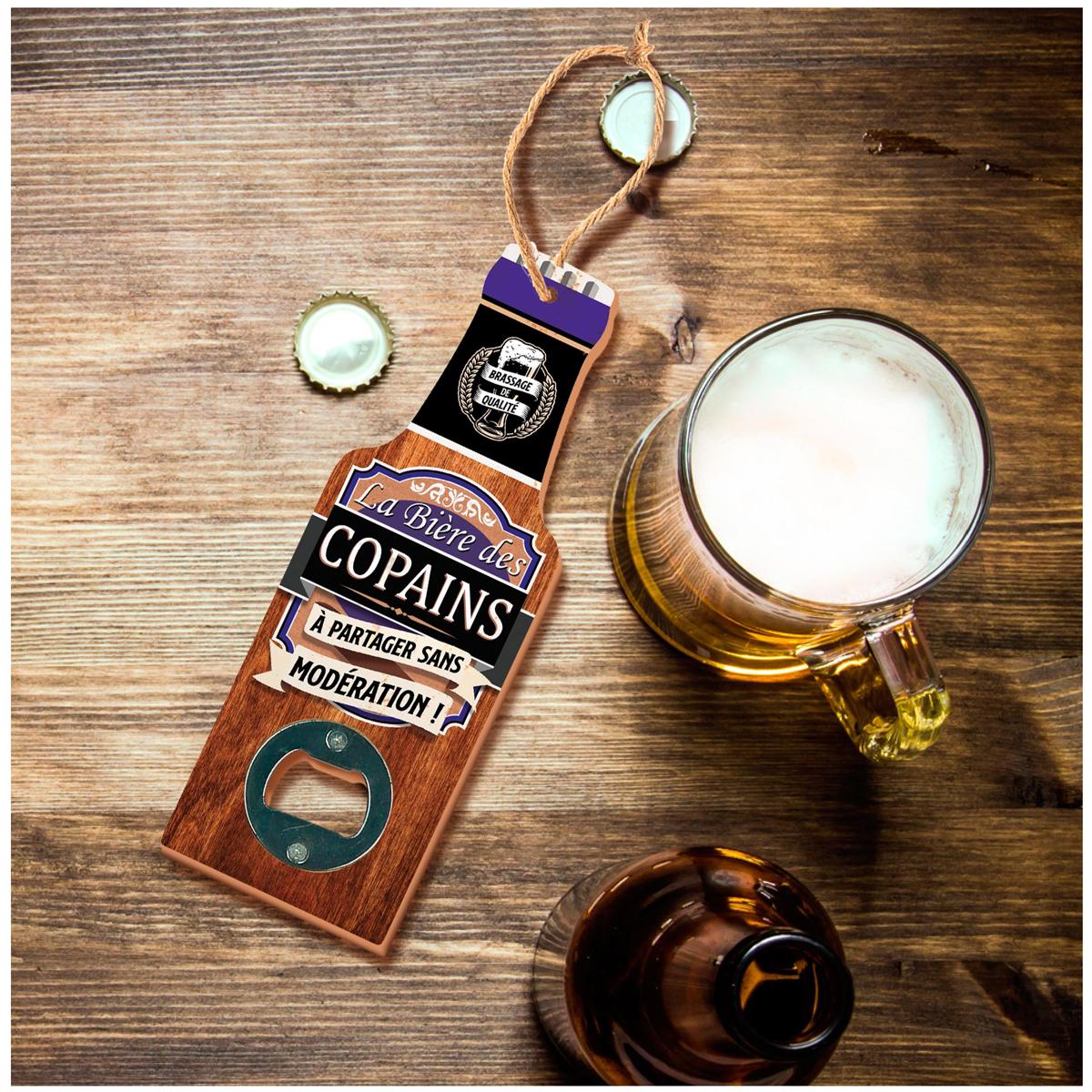 Décapsuleur humoristique bois \'Bouteille\' (La bière des Copains, à partager sans modération !) - 20x7 cm - [A1599]
