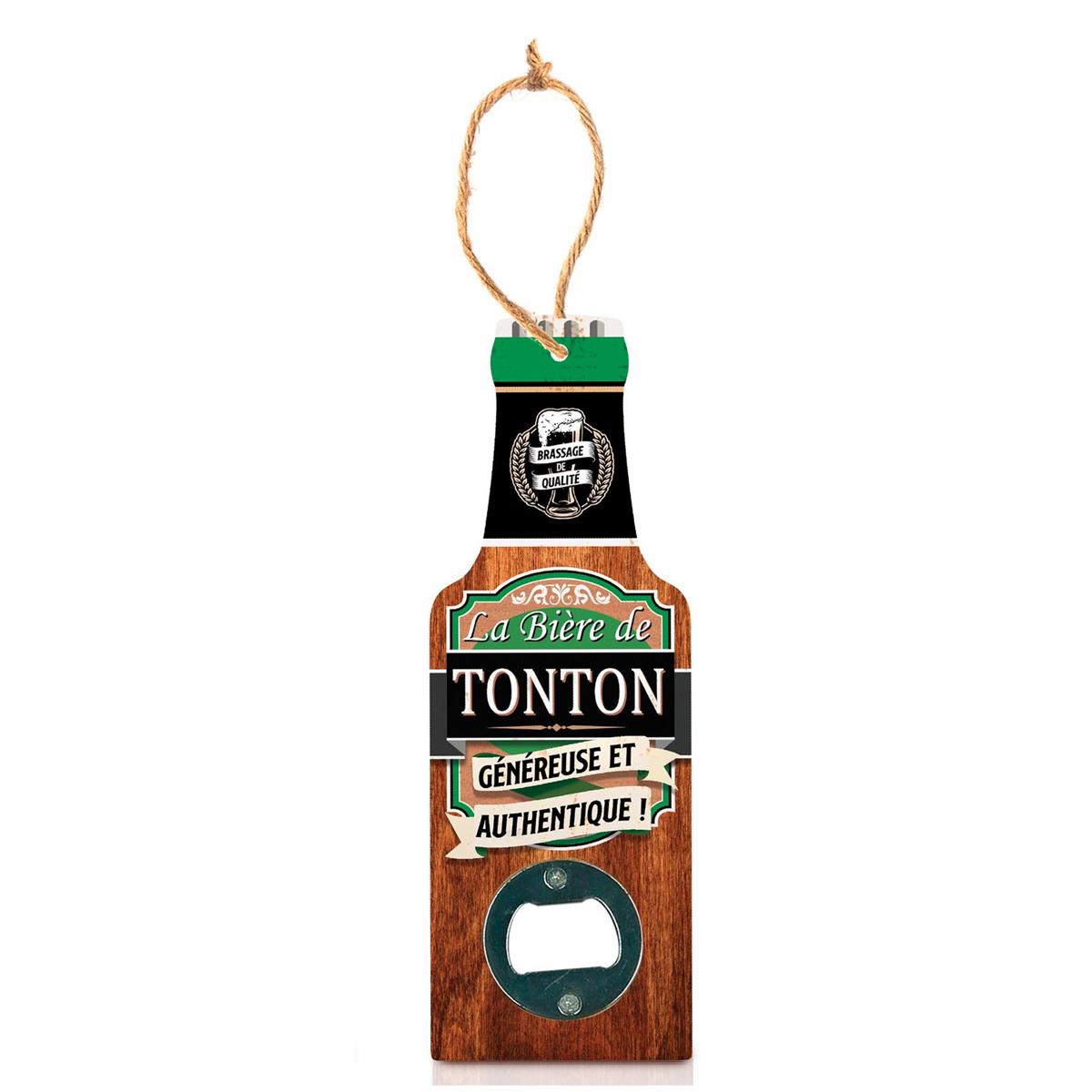 Décapsuleur humoristique bois \'Bouteille\' (La bière de Tonton, généreuse et authentique !) - 20x7 cm - [A1600]