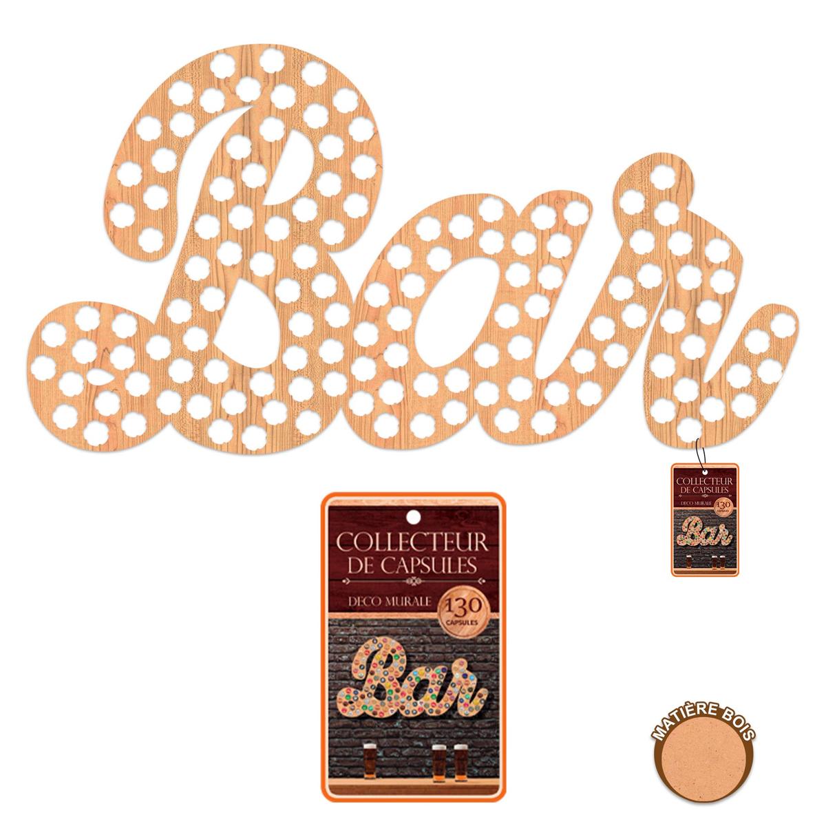 Collecteur Capsules de Bières bois XXL \'Bar\' - 92x49 cm (130 capsules) - [A1601]