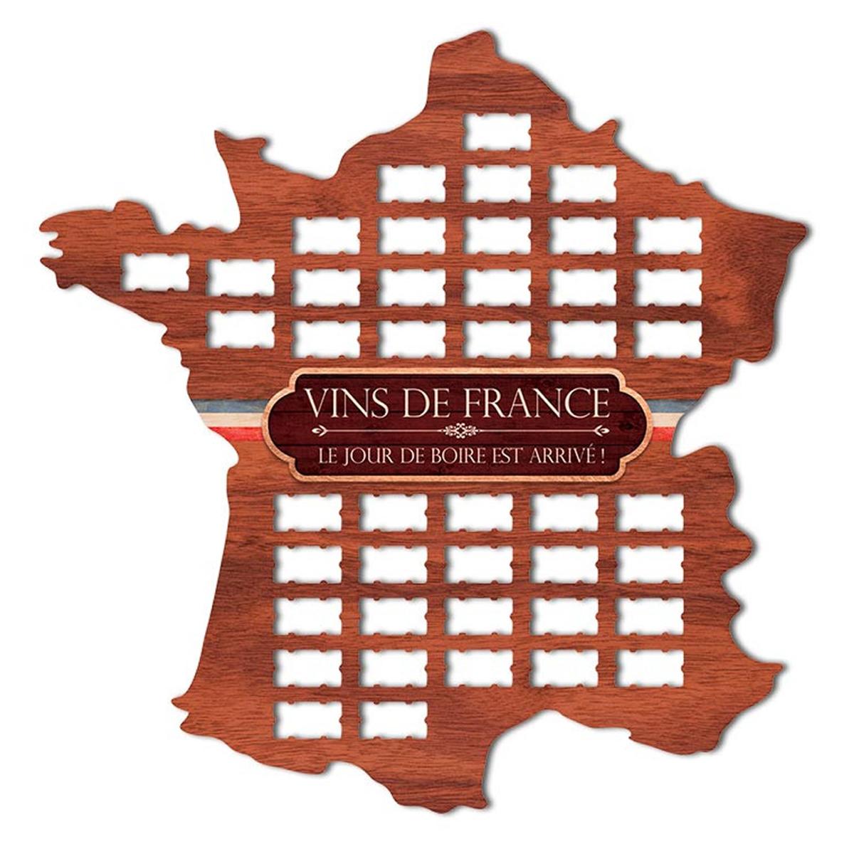 Collecteur bouchons bois \'Carte de France\' - 50x49 cm (44 bouchons) - [A1602]
