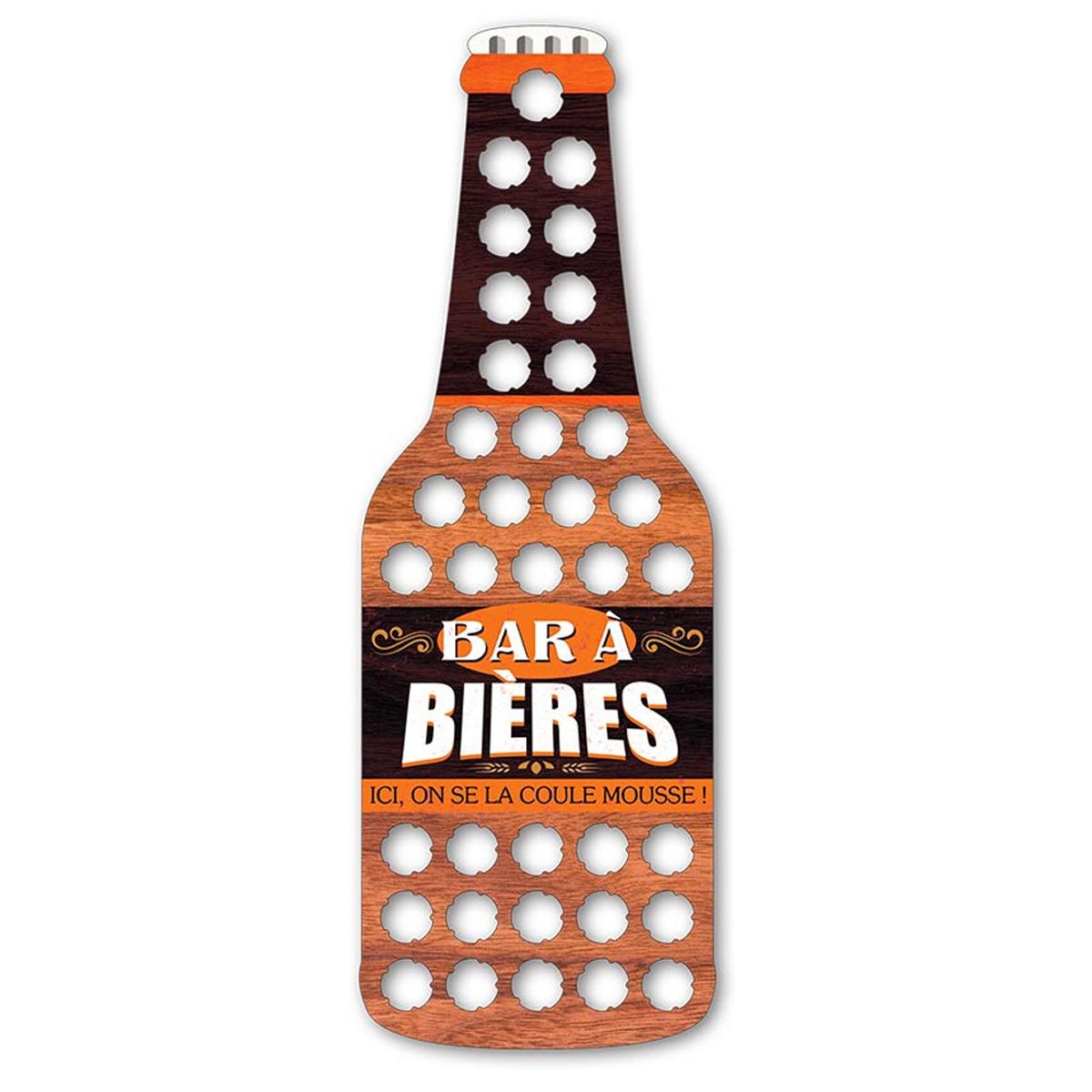 Collecteur Capsules de Bières bois \'Bar à Bières\' - 60x20 cm (36 capsules) - [A1603]