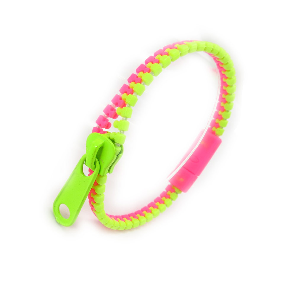 Bracelet résine \'Zip\' rose vert - 6 mm - [K0434]