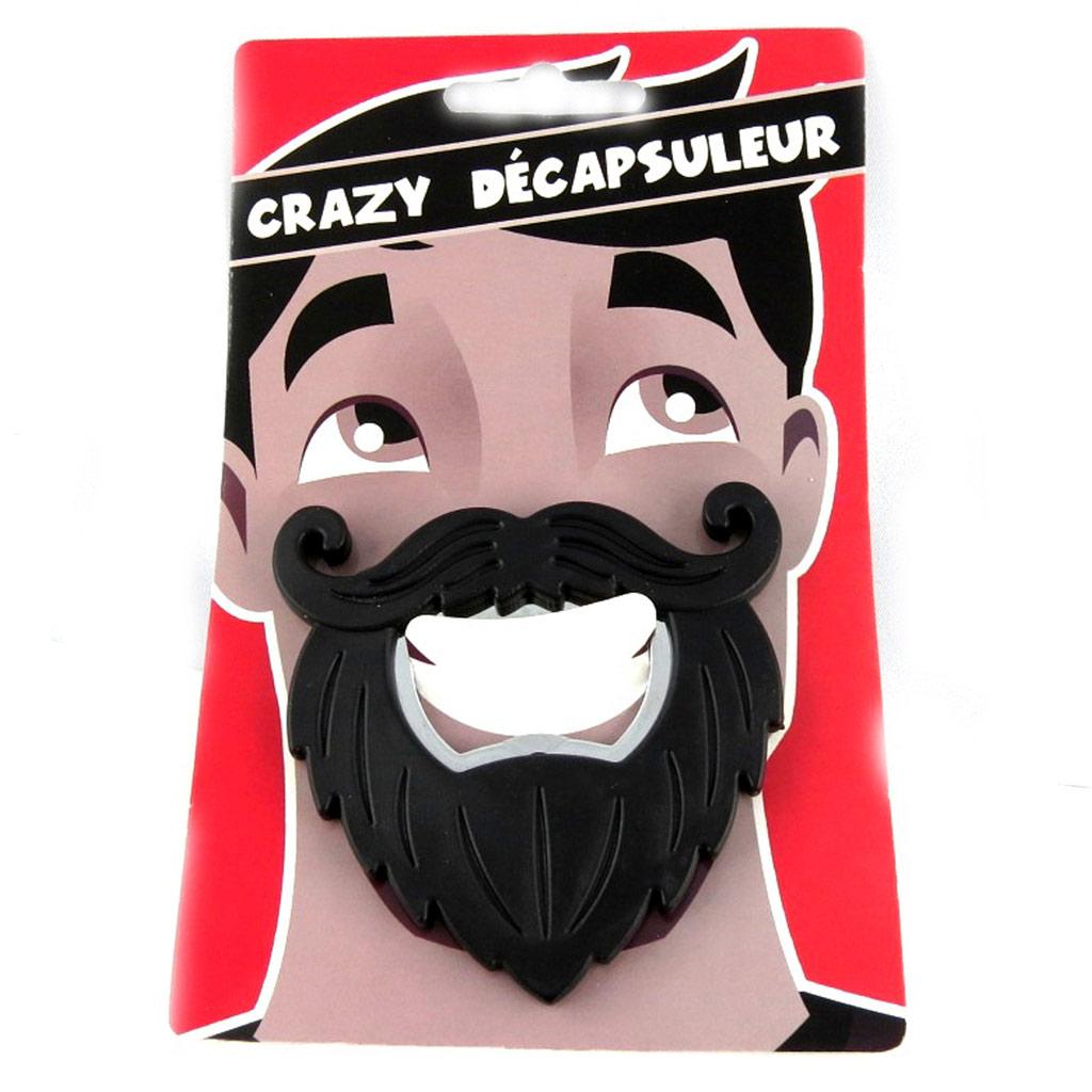 Décapsuleur humoristique \'Moustache\' noir - 7x7 cm - [L3110]