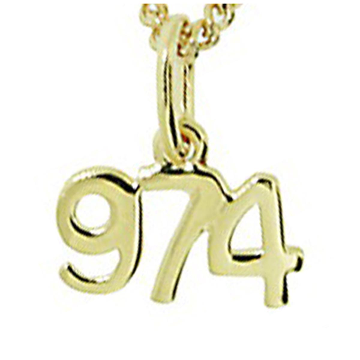 Pendentif plaqué or \'974\' doré  (La Réunion) - 11x7 mm - [N6805]