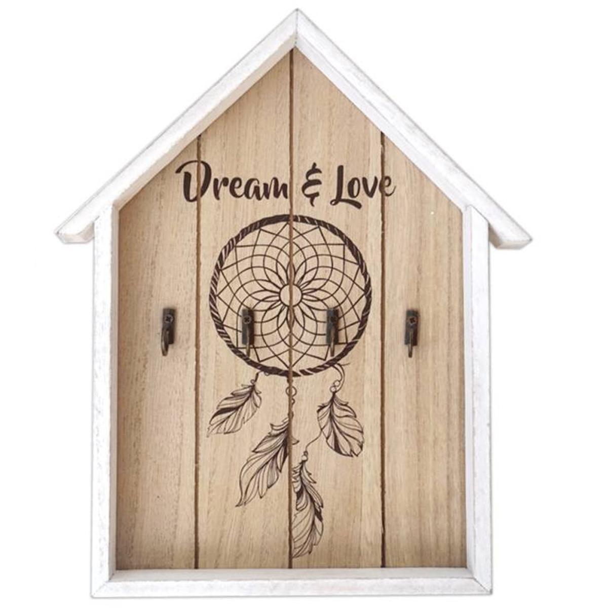 Boite à clés bois \'Boho\' blanc beige (dreamcatcher - dream &love) - 305x24x35 cm - [P8815]