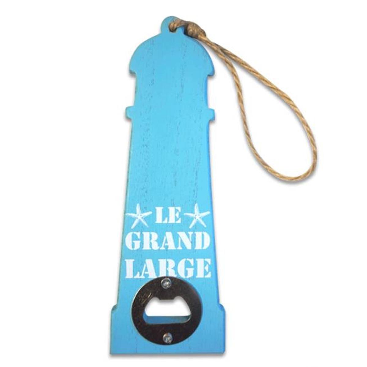 Décapsuleur humoristique bois \'Monde Marin\' (Phare) bleu - 20x75 cm - [P8841]