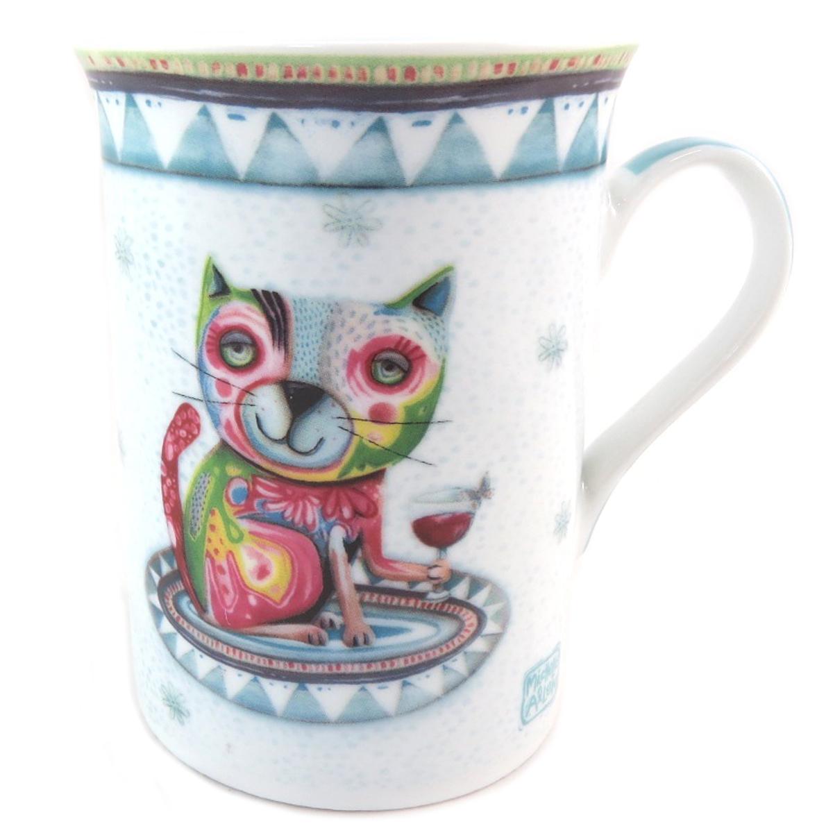 Mug porcelaine \'Allen Designs\' bleu vert multicolore (chat vin) - [P9907]