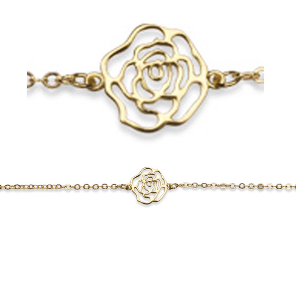 Bracelet plaqué or \'Camélia\' doré - 12 mm - [R3518]