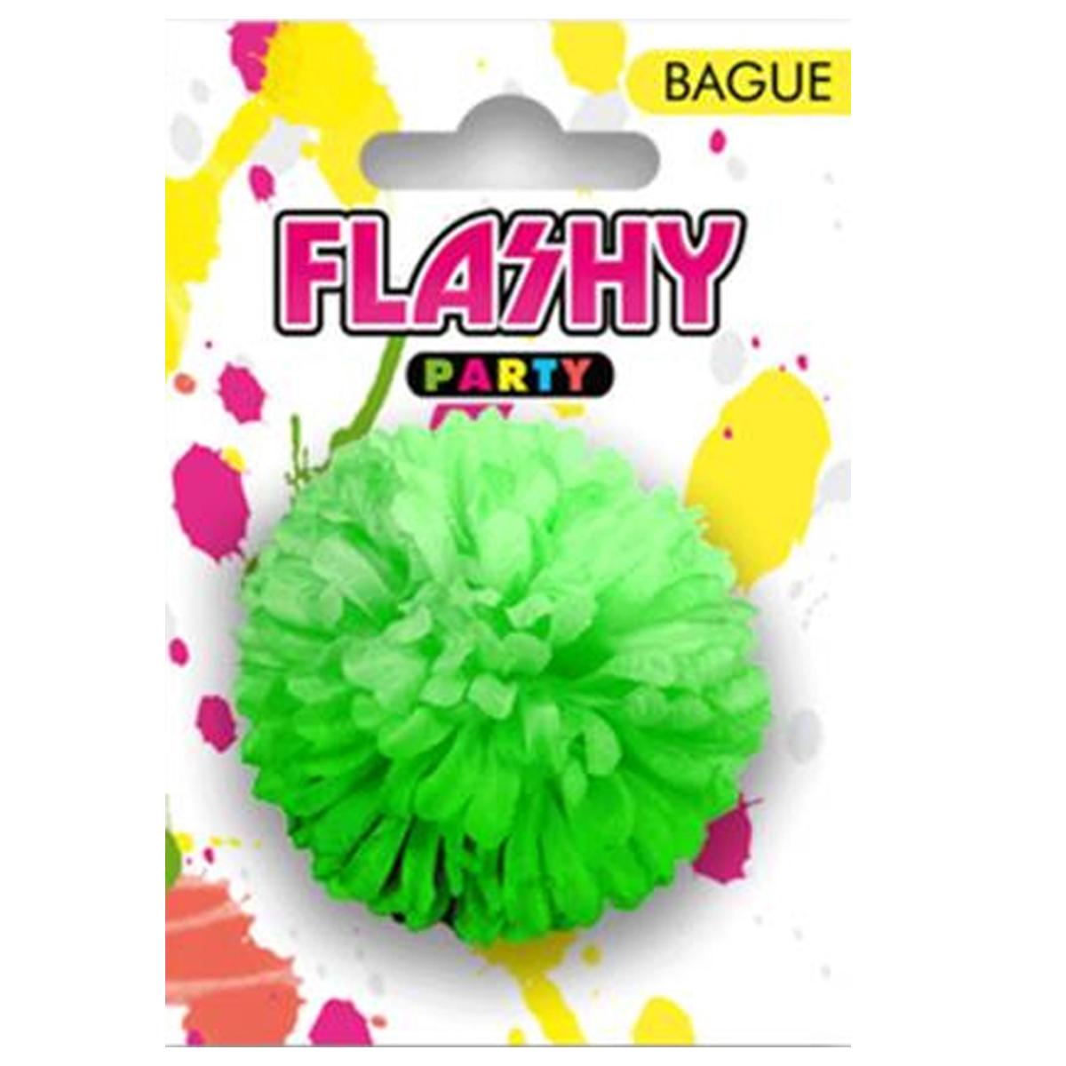 Bague fantaisie \'Vahiné\' vert (fleur) -6 cm - [R3999]