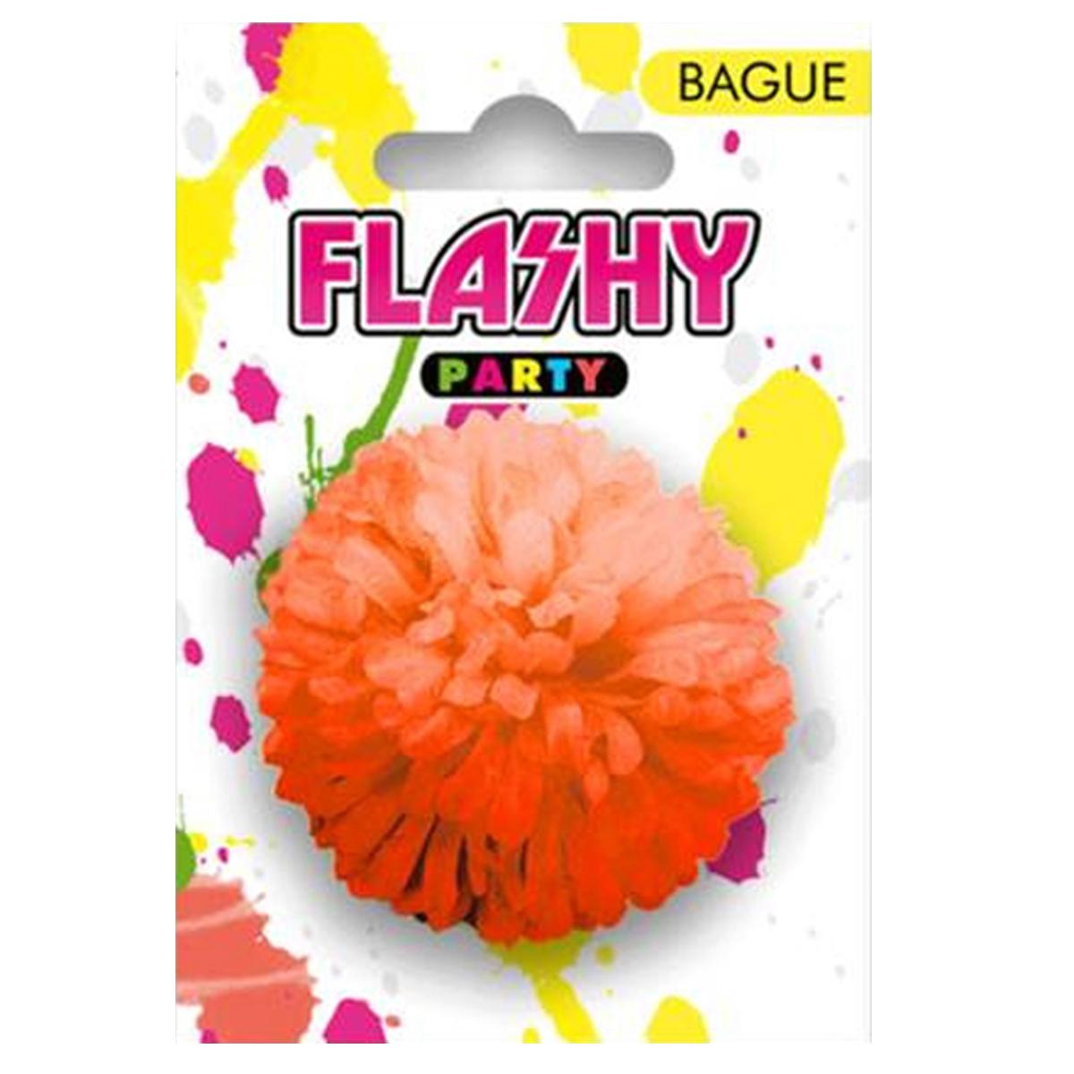 Bague fantaisie \'Vahiné\' orange (fleur) -6 cm - [R4000]