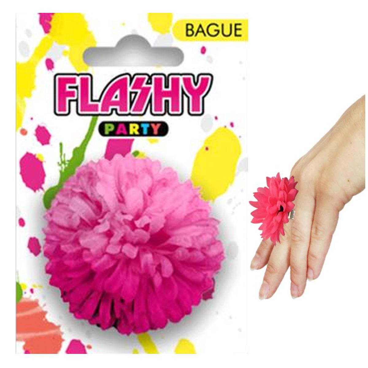 Bague fantaisie \'Vahiné\' rose (fleur) -6 cm - [R4001]