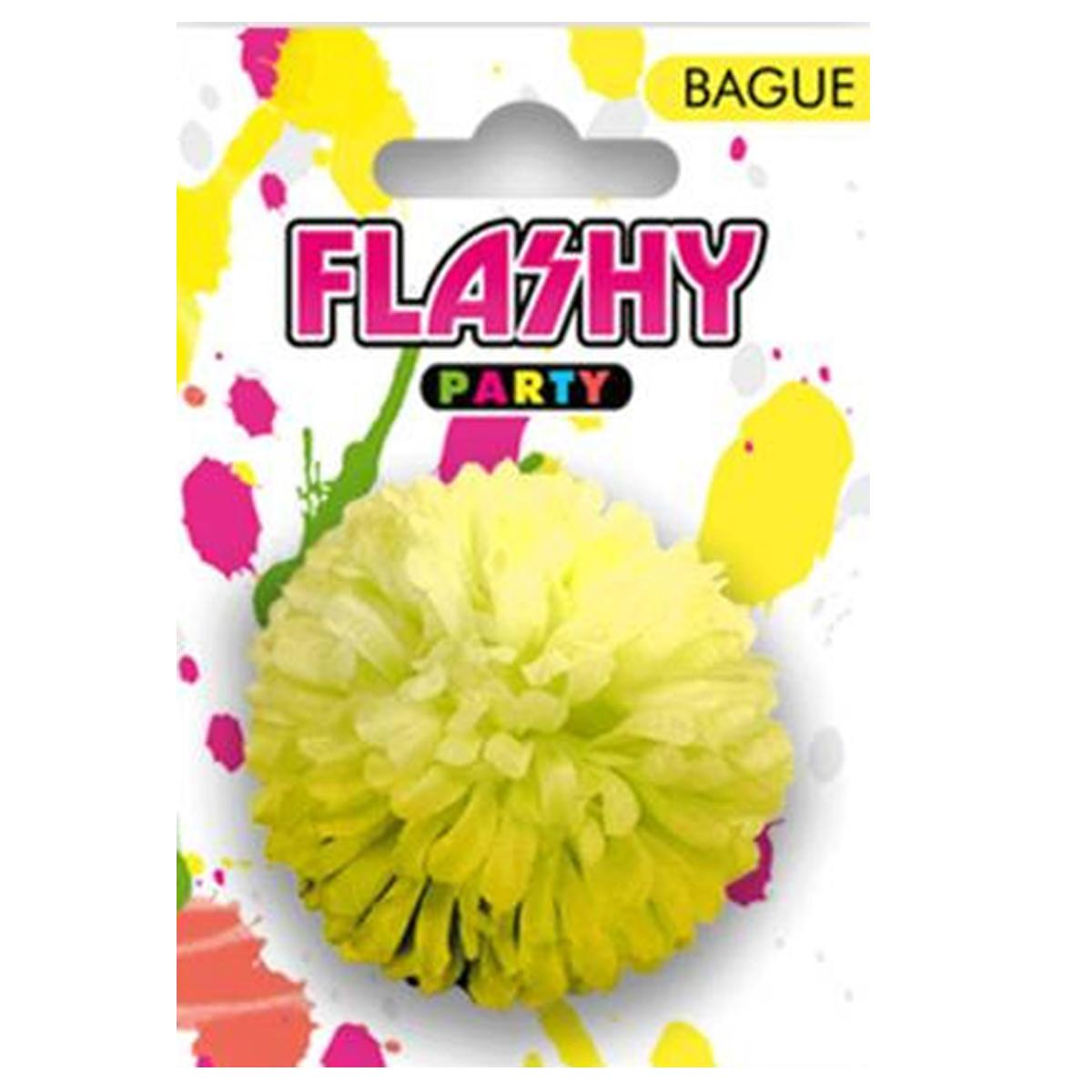 Bague fantaisie \'Vahiné\' jaune (fleur) -6 cm - [R4002]