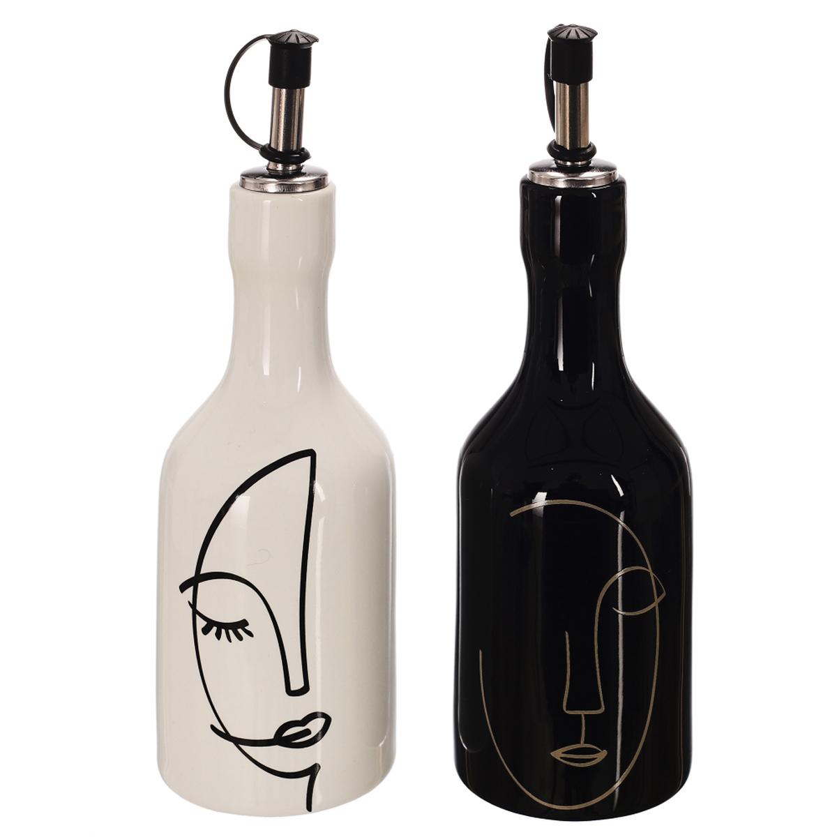 Bouteilles huile et vinaigre céramique \'Arty\' noir blanc - 90x45 mm chacun - [A1460]
