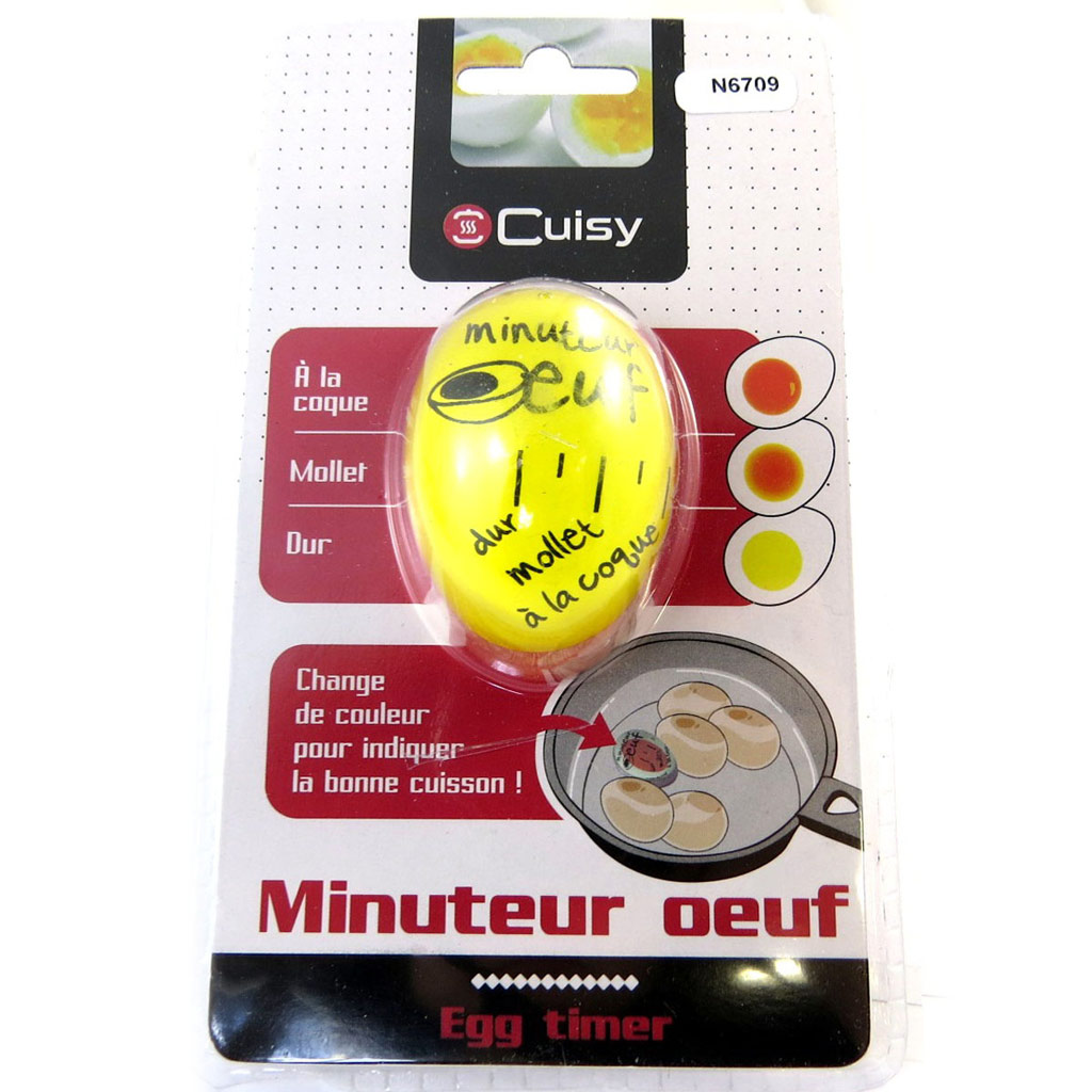 Minuteur cuisson \'Minuteur Oeuf\' jaune - 55x45 mm - [N6709]