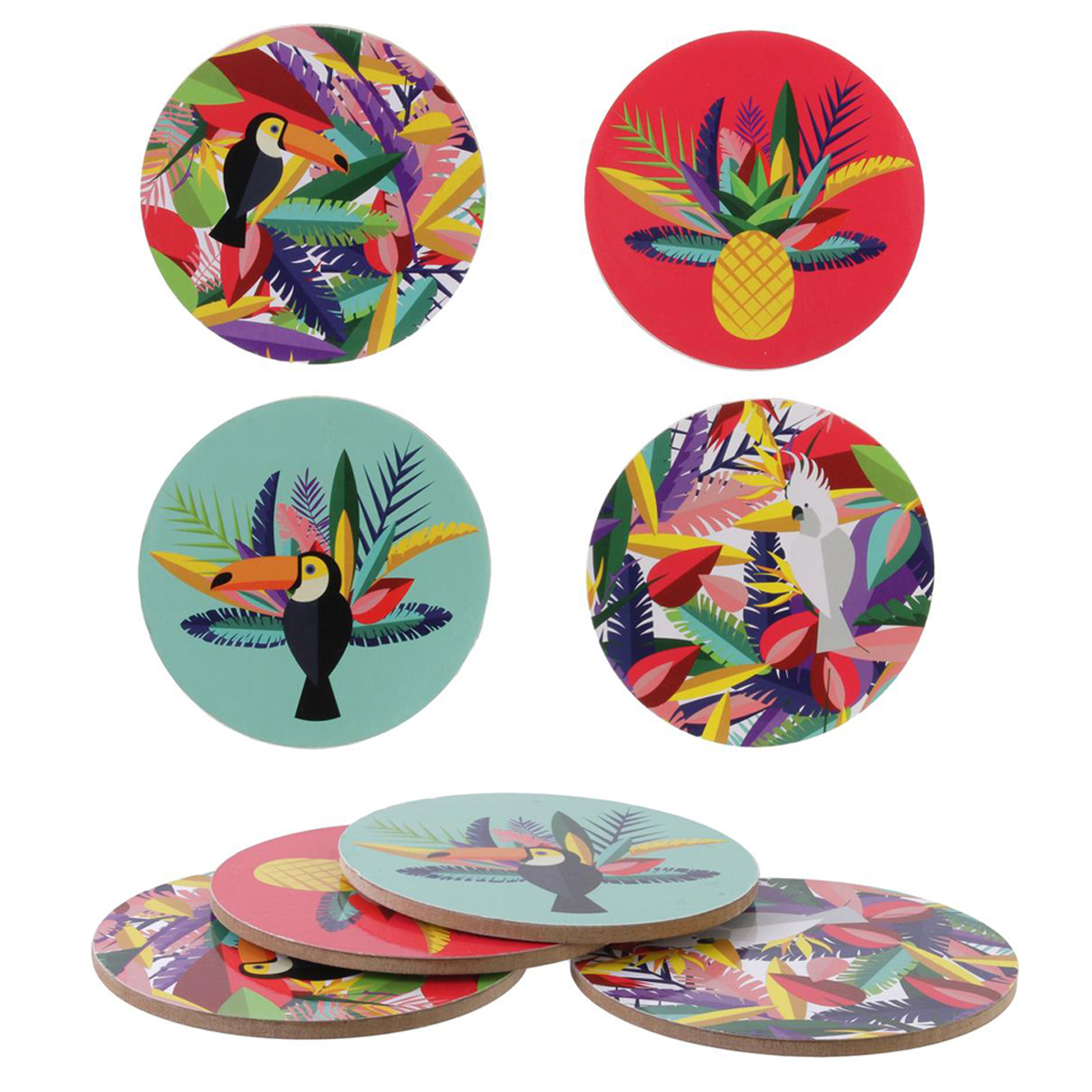 4 dessous de verre \'Tropical\' multicolore (bois/liège) - 10 cm - [Q3251]