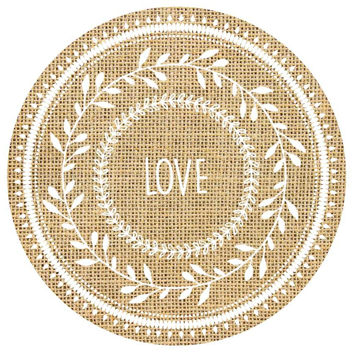 Set de table toile de jute \'Boho\' beige (Love) - 385 cm - [Q4129]