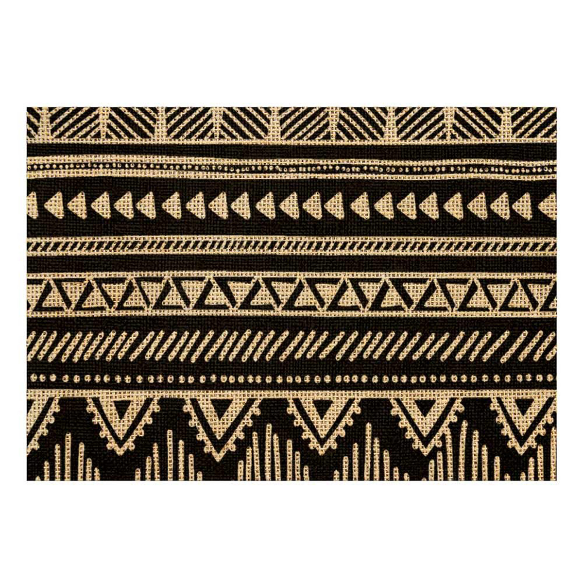 Set de table toile de jute \'Boho\' beige noir - 42x30 cm - [Q4143]