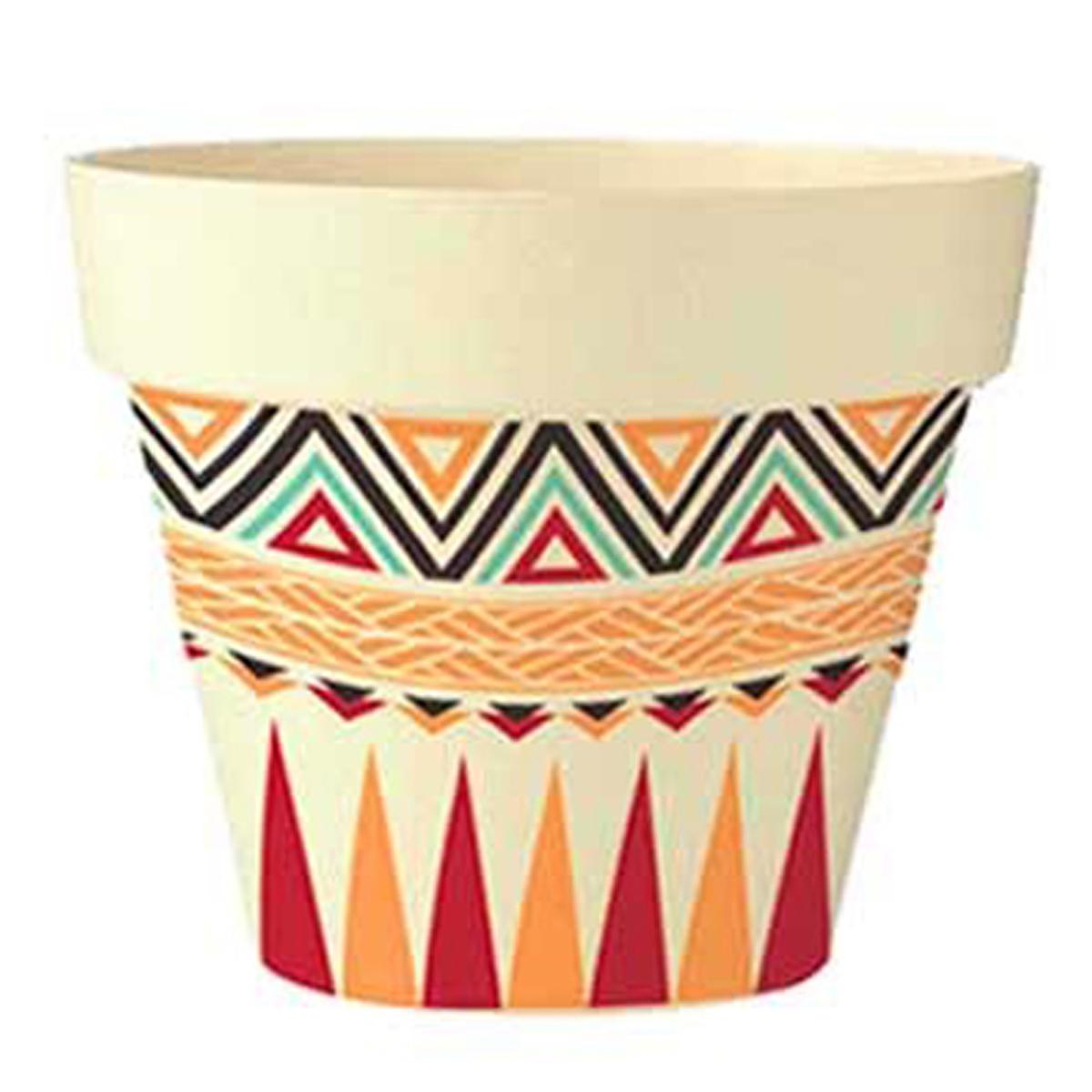 Cache-pot bambou \'Boho\' orange rouge beige -  105x95 cm - [Q6419]