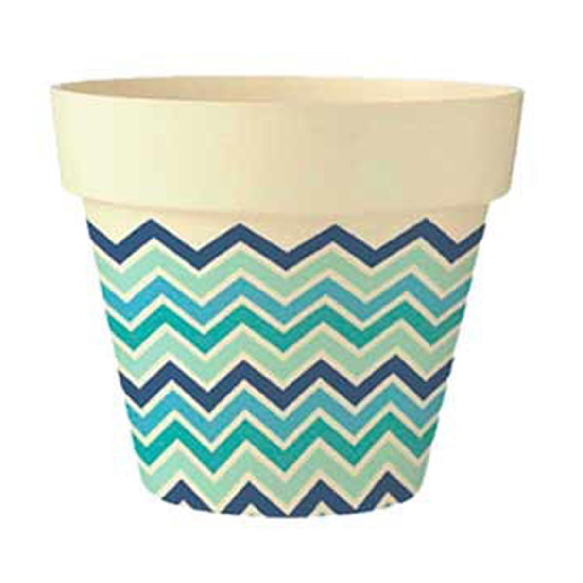 Cache-pot bambou \'Boho\' bleu vert beige -  105x95 cm - [Q6420]