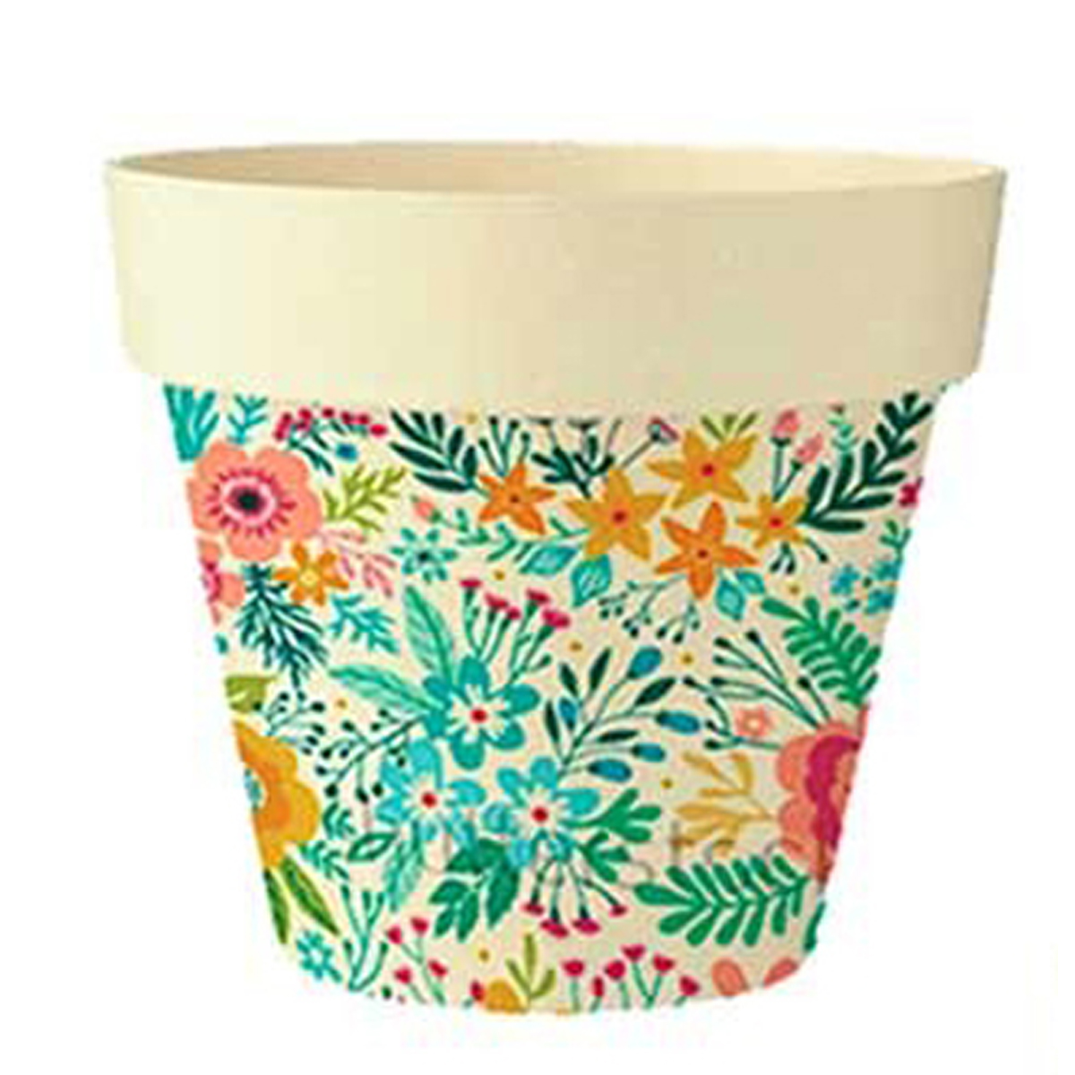Cache-pot bambou \'Floral\' beige multicolore -  105x95 cm - [Q6427]