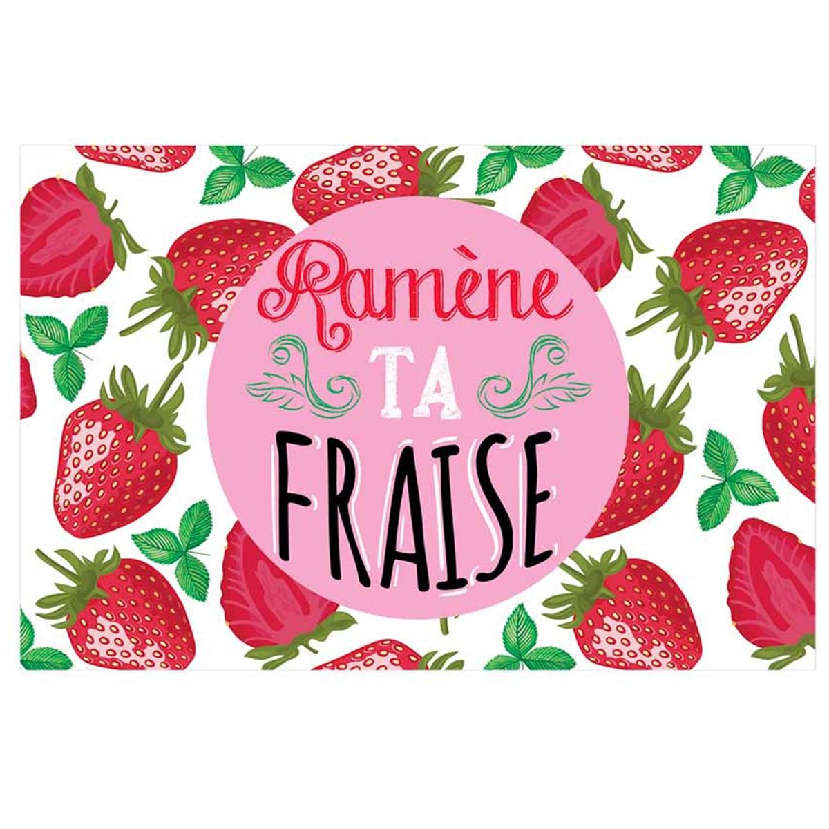 Set de table plastifié humoristique \'Messages\' blanc rouge (Ramène ta fraise) - 43x28 cm - [Q6558]