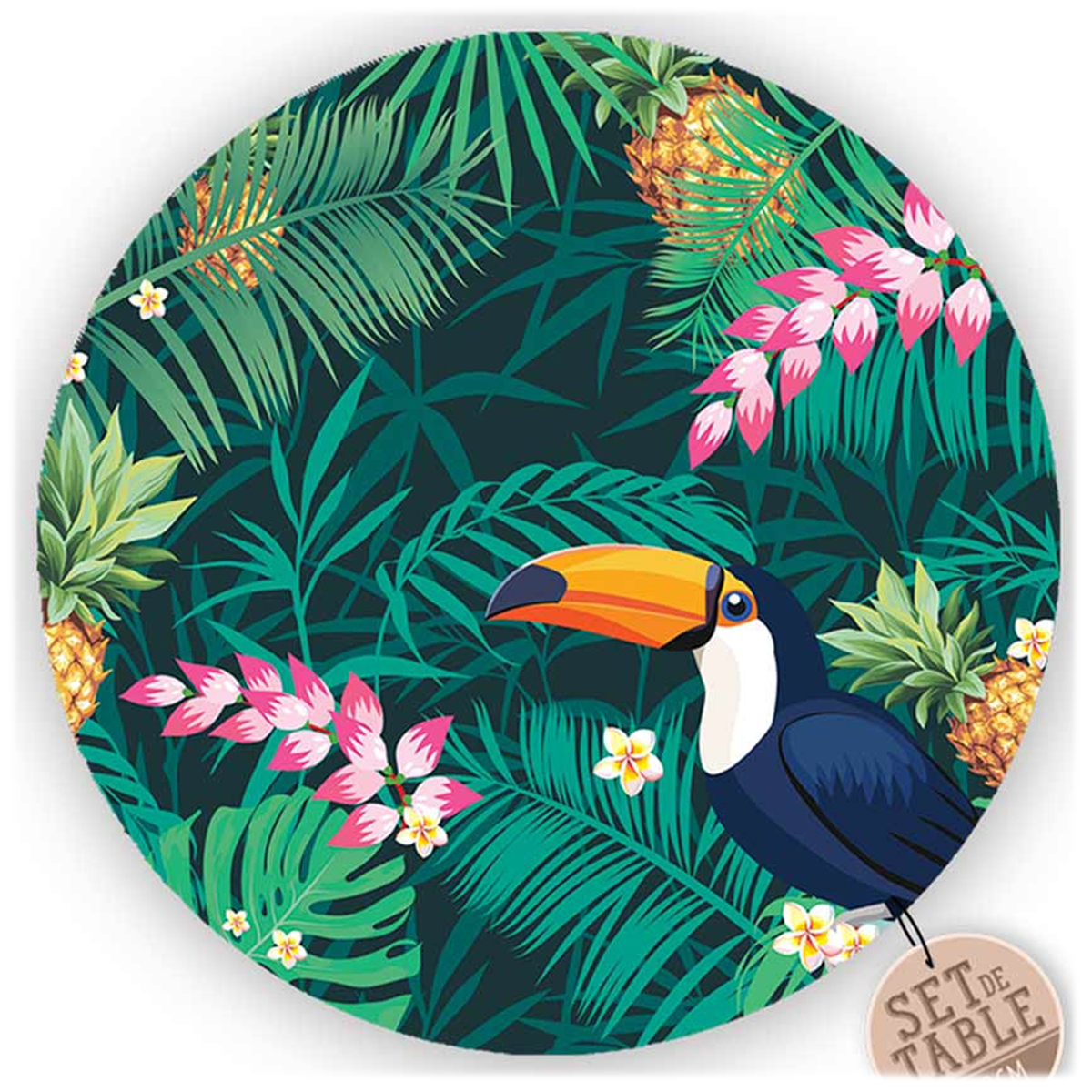 Set de table plastifié \'Tropical\' rose vert (toucan) - 38 cm - [R1617]