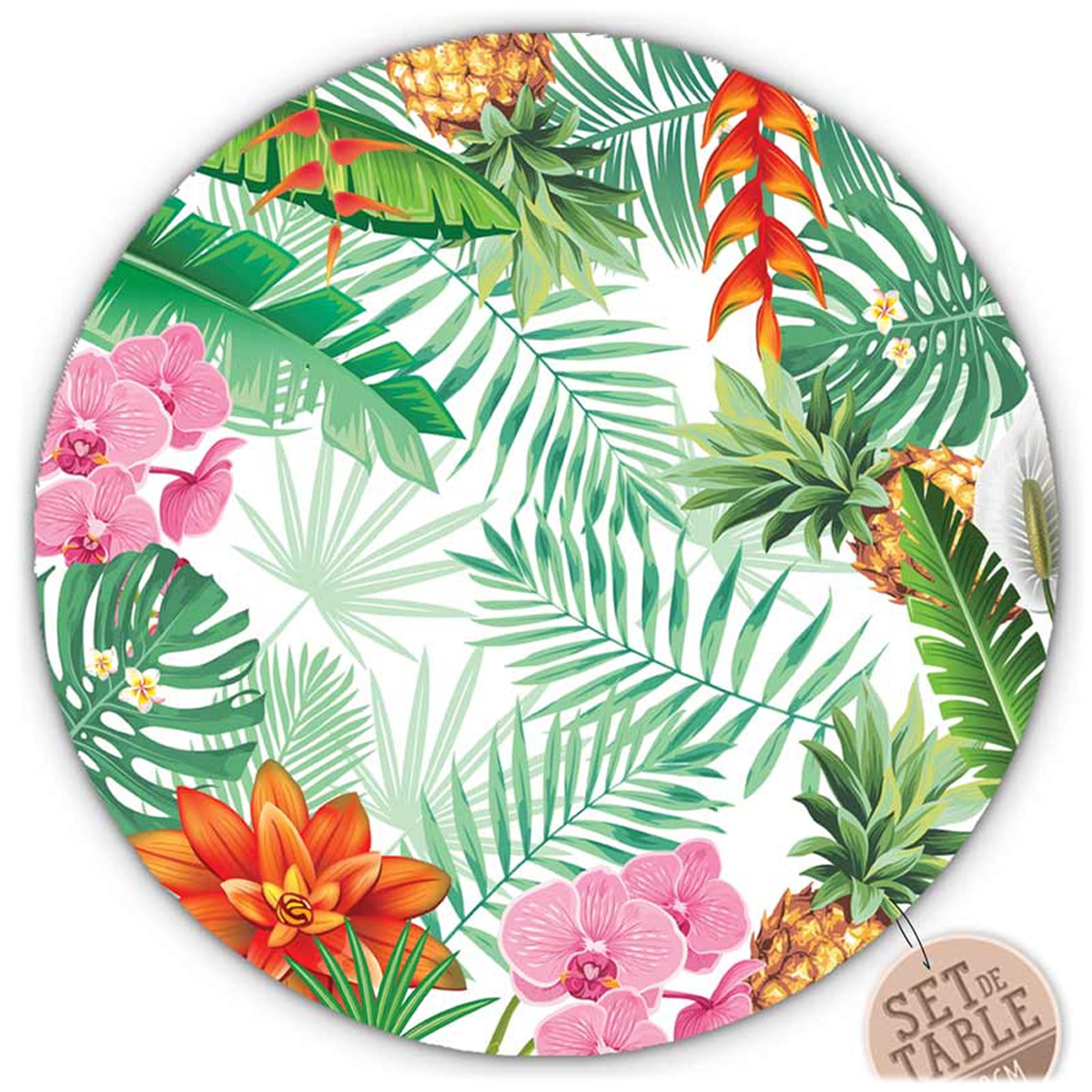 Set de table plastifié \'Tropical\' rose vert (orchidées, feuilles) - 38 cm - [R1619]