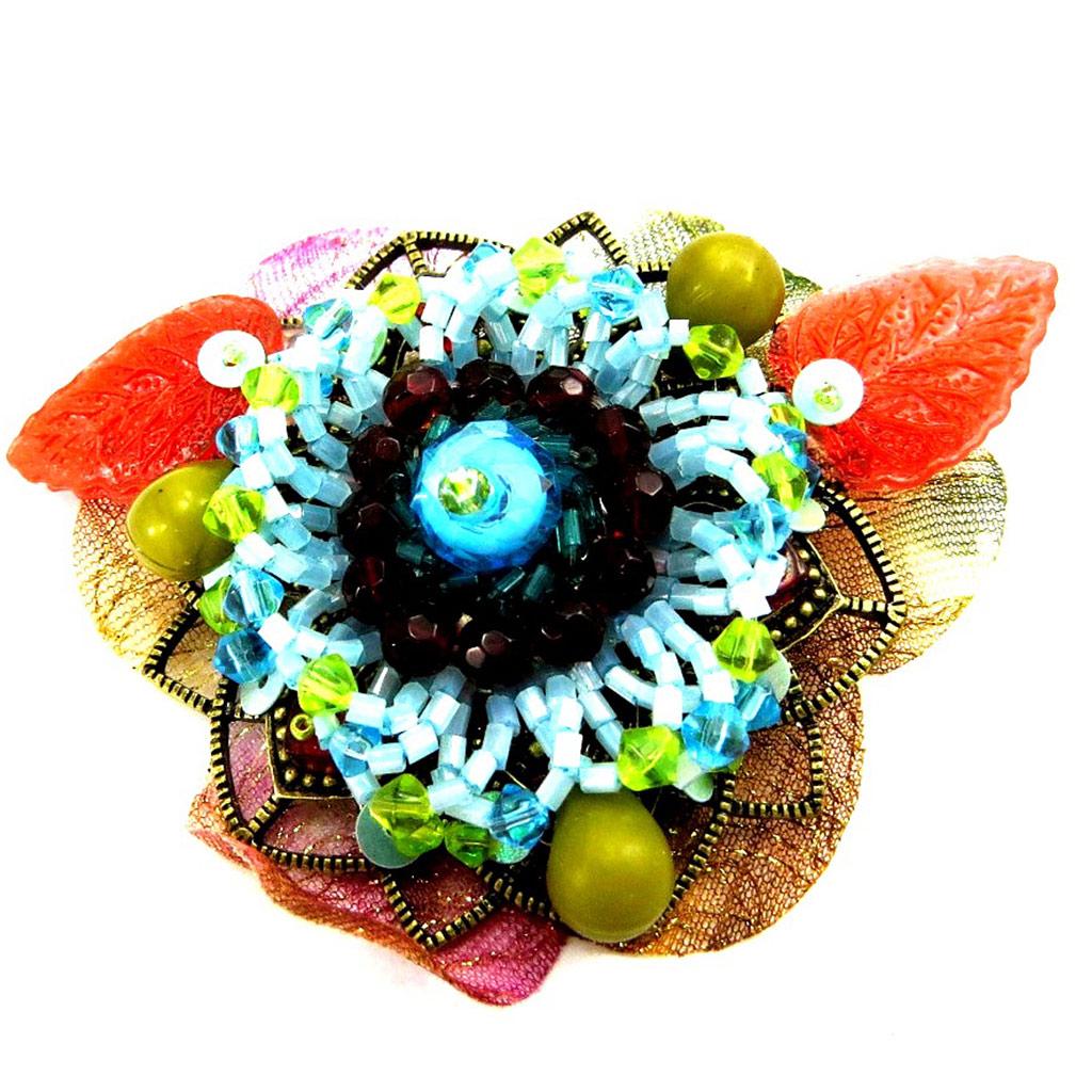 Broche Créateur \'Rose Baronne\' Turquoise  - [B1647]