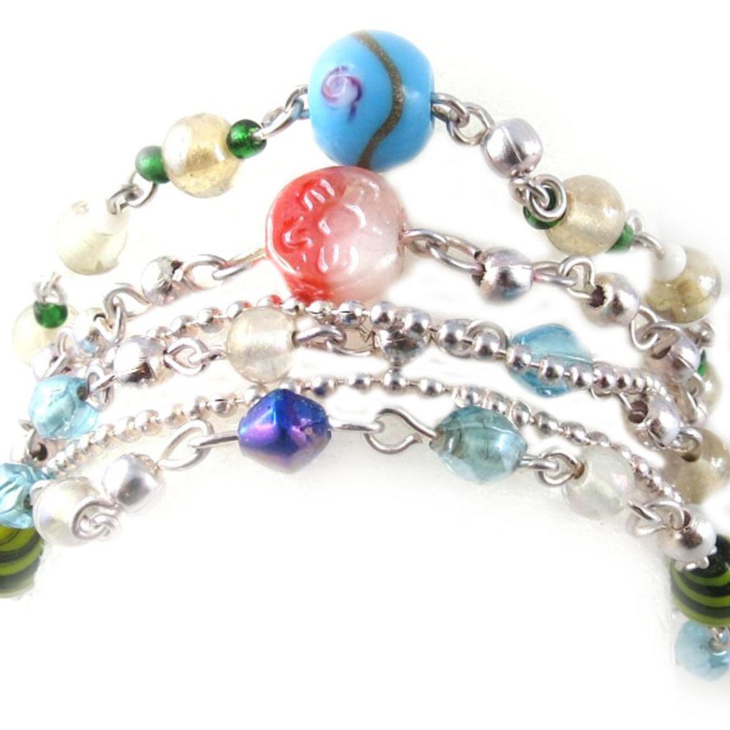 Bracelet \'Calcutta\' Blanc Bleu Vert  - [B8202]