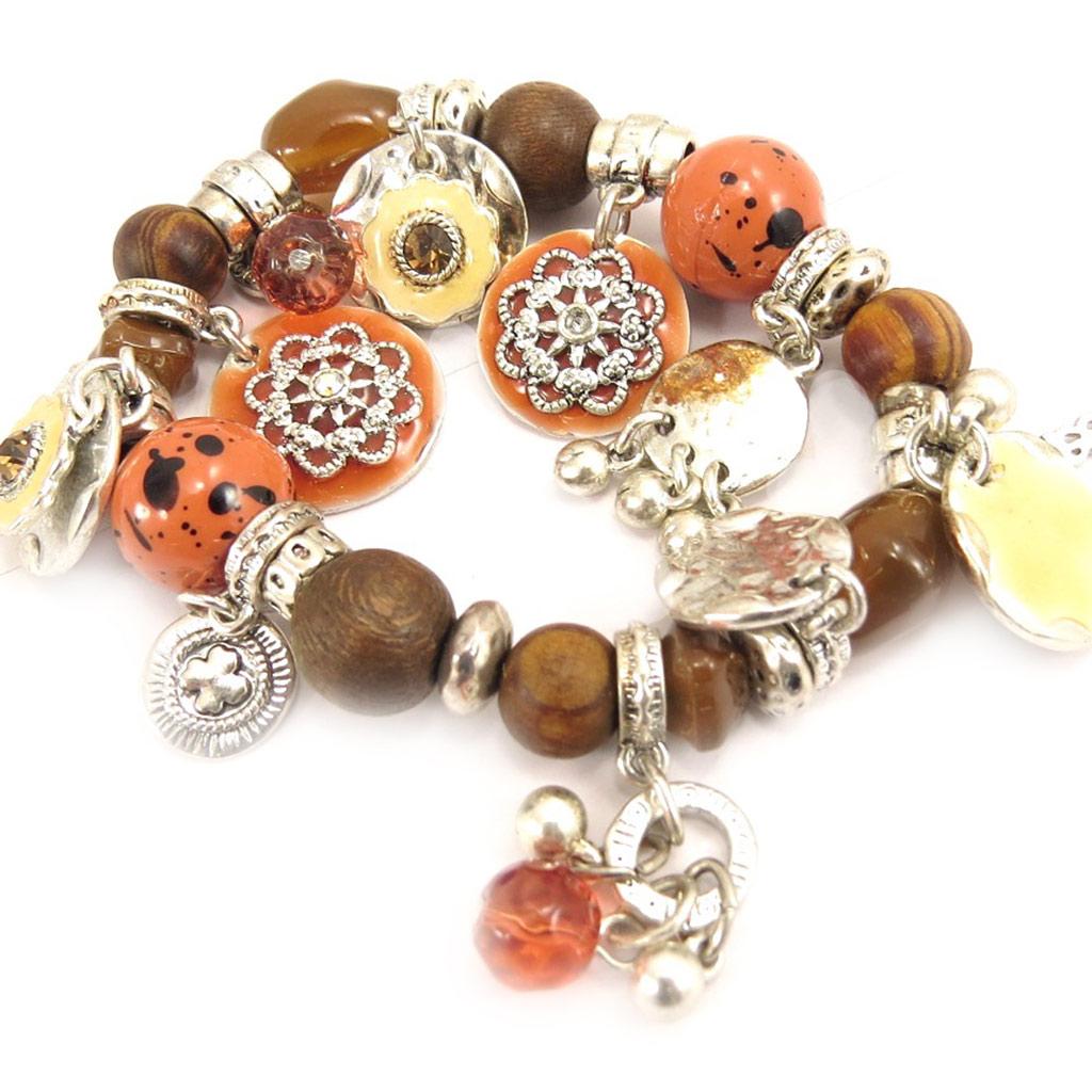 Bracelet Créateur \'Babouchka\' Orange Marron - [C5294]