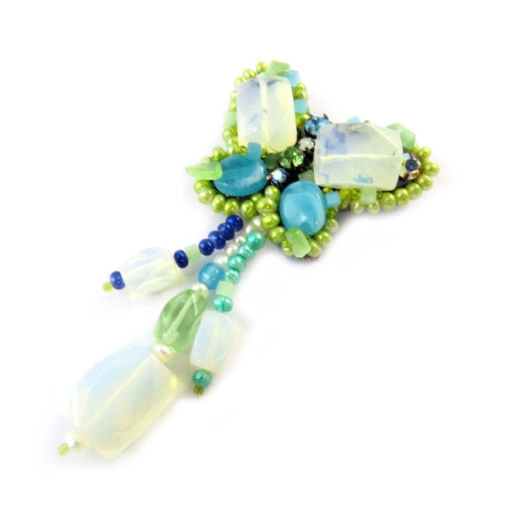 Broche Créateur \'Les Romantiques\' Turquoise Vert - [C8163]