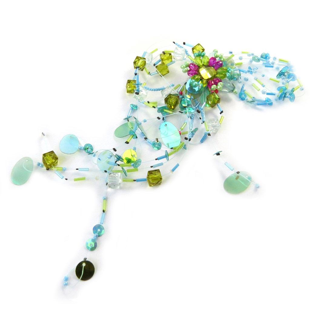 Broche Créateur \'Les Romantiques\' Turquoise Vert - [C8213]