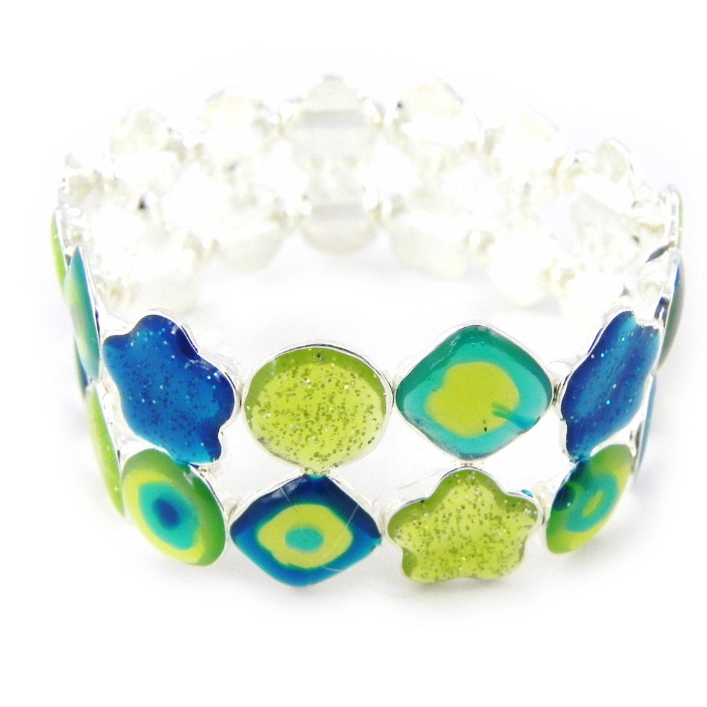 Bracelet Créateur \'Les Acidulés\' bleu vert - [H0845]