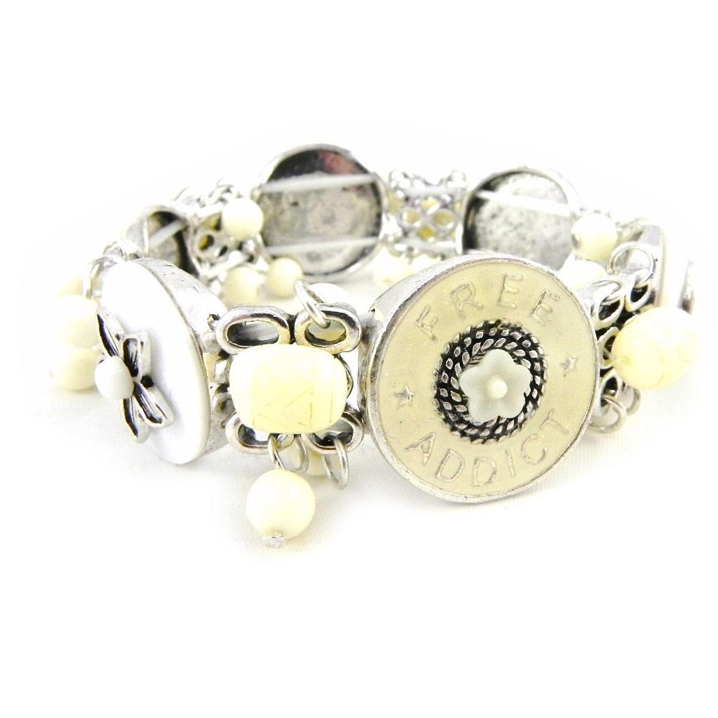 Bracelet Créateur \'Liberty\' blanc beige - [H4443]