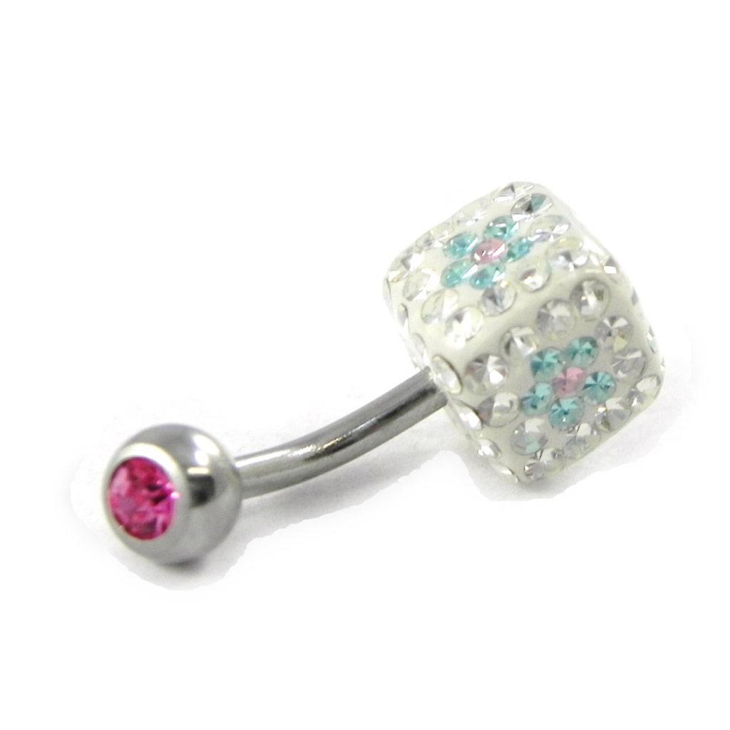 Body Piercing \'Cristal Divin\' blanc bleu rose - [H9232]