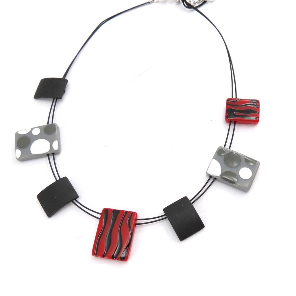 Collier Créateur \'Coloriage\' rouge noir - [K0159]