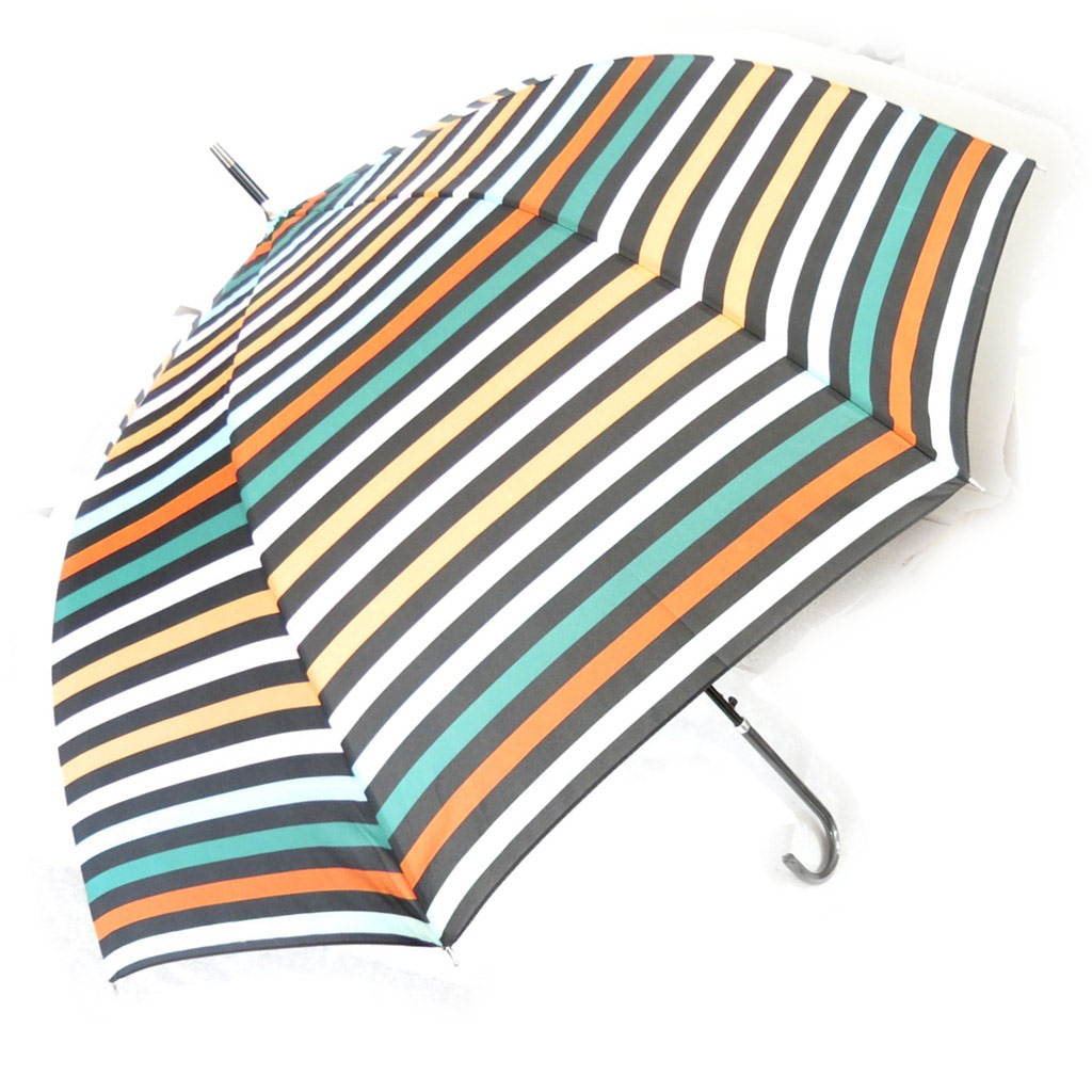 Parapluie canne \'Coloriage\' vert orange - [K0867]