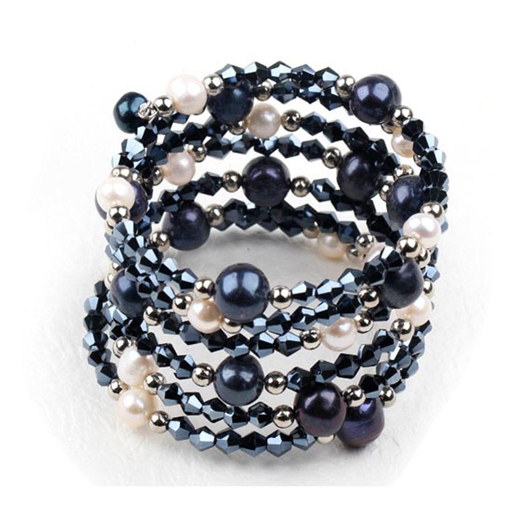 Bracelet créateur \'Minéralia\' noir blanc - [K1181]