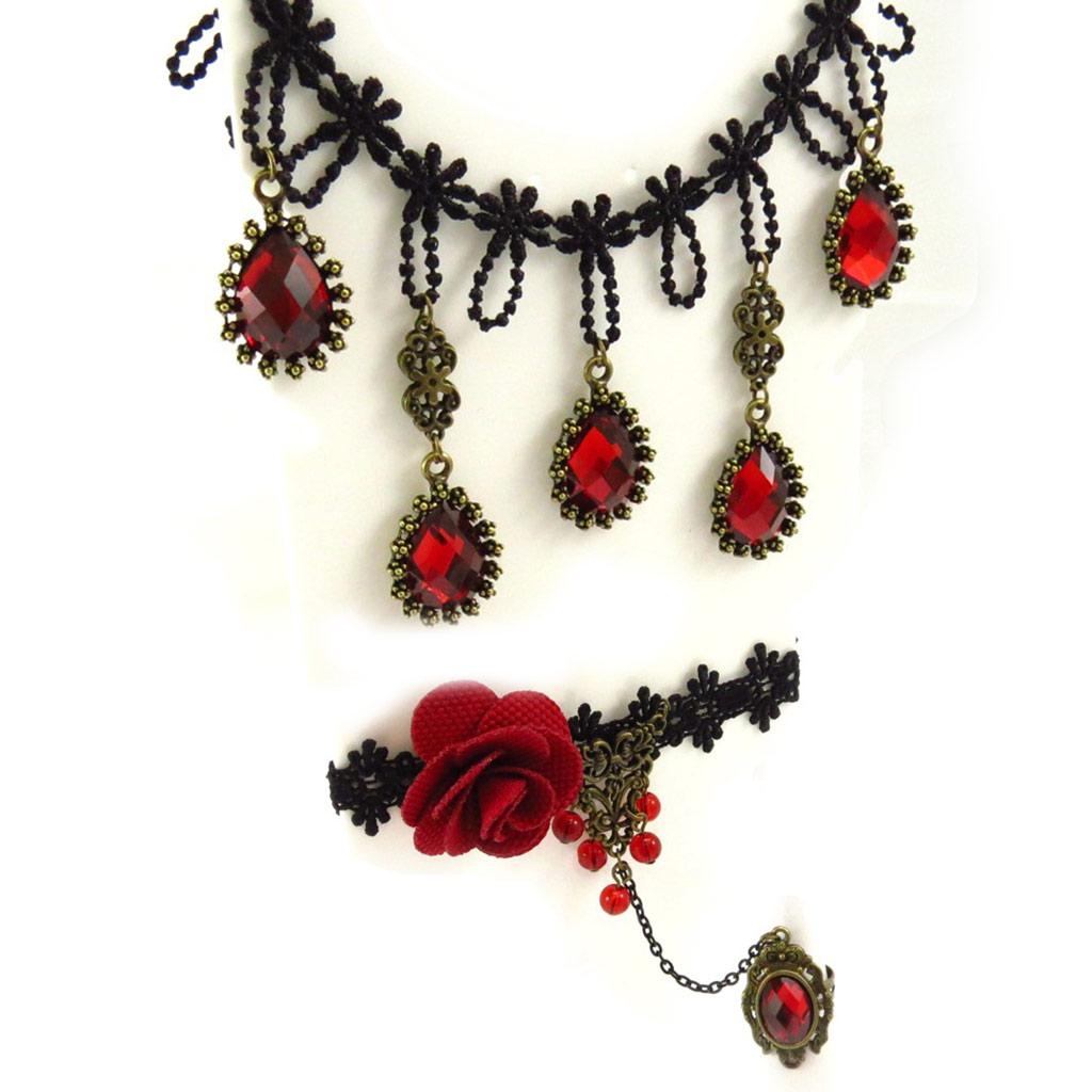 Parure créateur \'Courtisanes\' rouge noir (dentelle)  - [K6564]