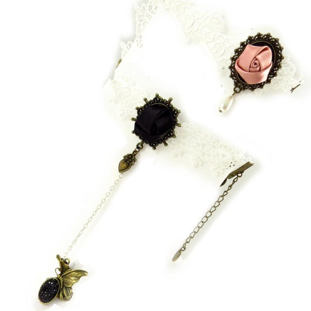 Parure créateur \'Courtisanes\' ivoire (dentelle) (bracelet bague + chaine cheville) - [K6565]