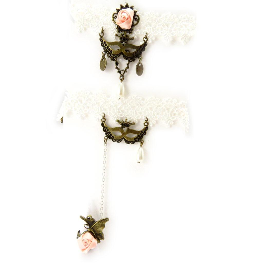 Parure créateur \'Courtisanes\' ivoire rose pâle (dentelle)  - [K6569]