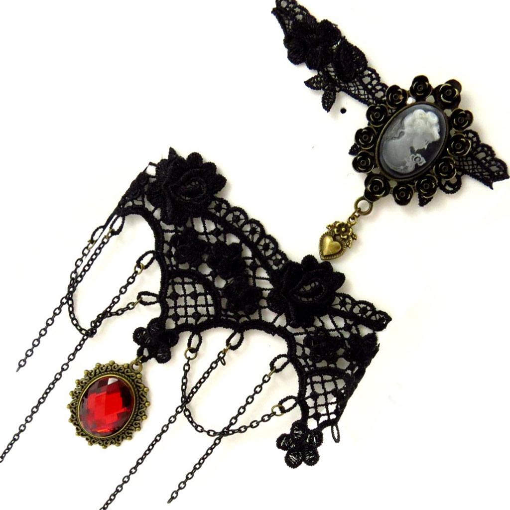 2 ras de cou créateur \'Courtisanes\' rouge noir (dentelle)  - [K6576]