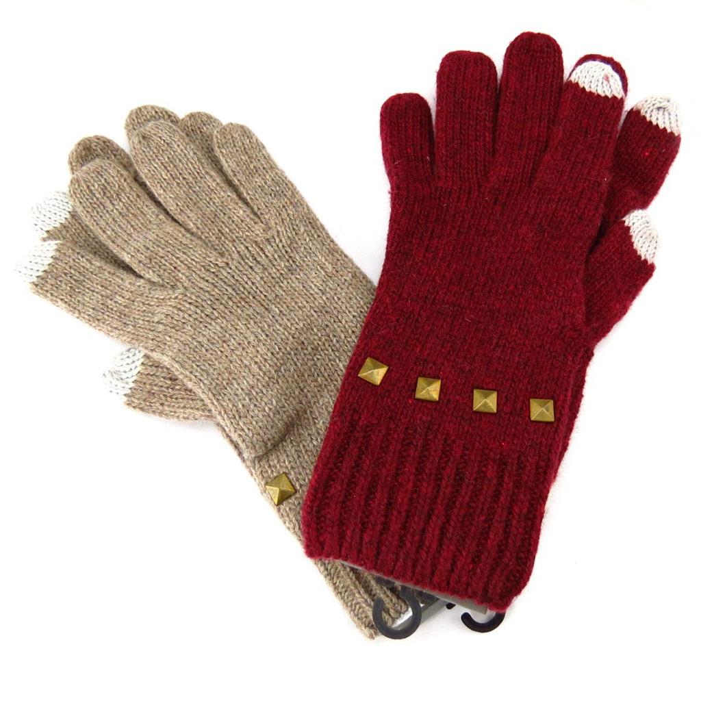 2 paires de gants \'Indispensable\' taupe bordeaux (écran tactile) - [K6771]